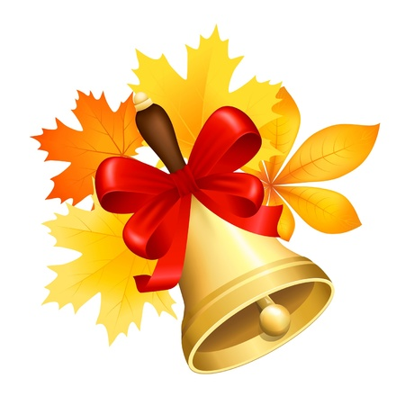 hand bell: Vector illustration with a school hand bell on background of autumn leaves