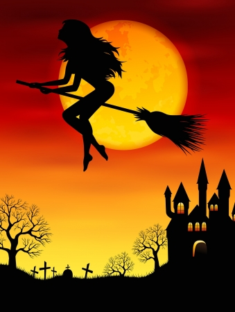 broomstick: Vector illustration for Halloween with a witch flying on a broomstick