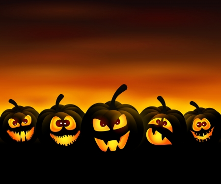 pumpkin: Vector illustration to Halloween with funny pumpkins at sunset