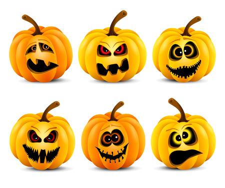 Ilustración del vector de las calabazas de Halloween divertido aislado