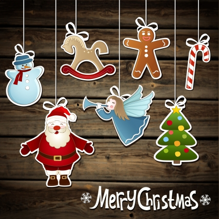 Vector collection of Christmas elements on a wooden background Vector