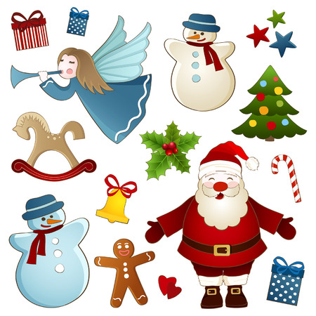 Vector collection of Christmas elements on a white background Vector