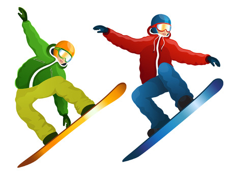 Vector illustration snowboarders on a white background
