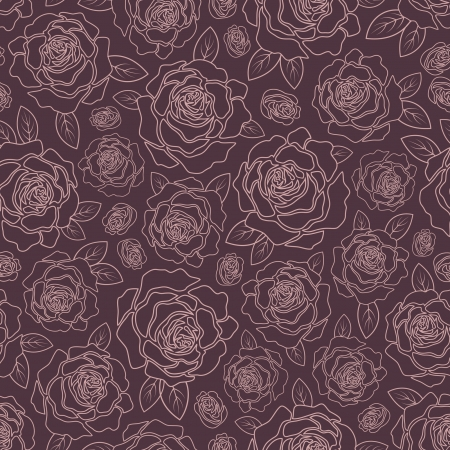 botanica: Vector seamless background with roses on a dark background Illustration