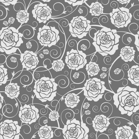 jointless: Vector black and white seamless pattern of roses