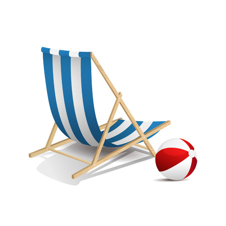 vector chair: Vector illustration of a beach chair and the ball isolated
