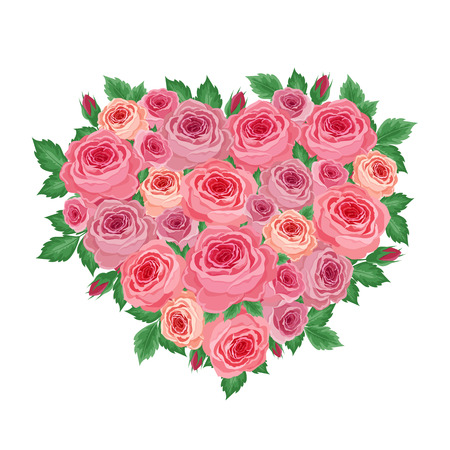 vegetal: Vector illustration of a heart of the beautiful roses on a white background Illustration
