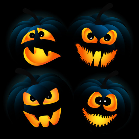 physiognomy: Vector illustration for Halloween with pumpkins on a dark background