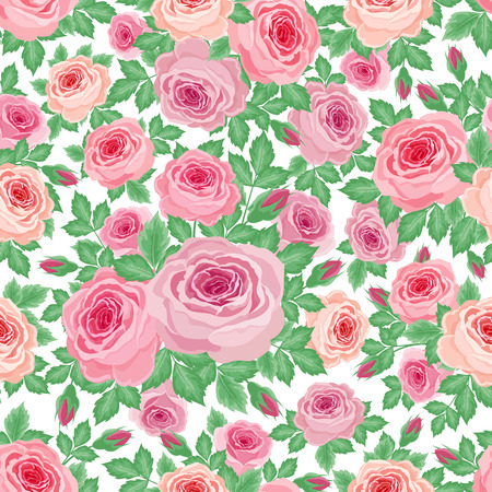 floret: Vector illustration of a repeating pattern of roses