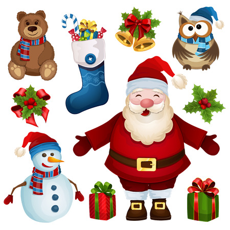 collection of Christmas characters on a white background