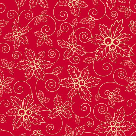 cliche: Textura incons�til del vector con hojas de acebo para la Navidad Vectores
