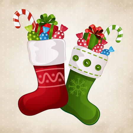 Vector illustration of a beautiful Christmas stocking with gifts Ilustração