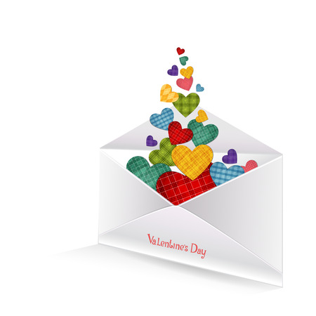 isolation backdrop: Vector illustration of colored hearts in the envelope on white background Illustration
