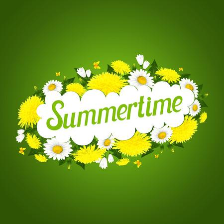 � spring: Ilustraci�n del vector de flores de primavera de dientes de le�n y margaritas Vectores