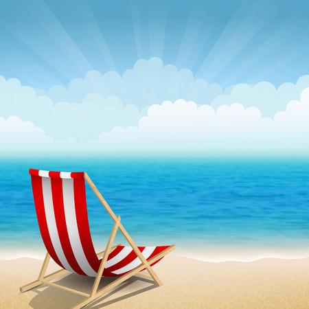 Ilustración vectorial de sillas de playa en la costa soleada