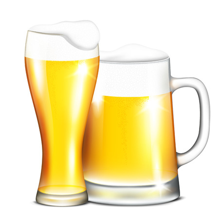 glassful: Vector illustration of two mugs of beer on a white background Illustration