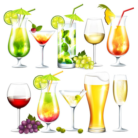 bebidas alcohÓlicas: Vector colección de cócteles y bebidas alcohólicas