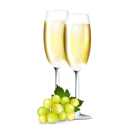 champagne glasses: Vector illustration of two glasses with champagne on white background