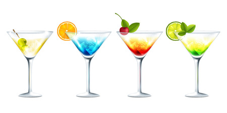 summertime: Vector illustration of club cocktails on white background
