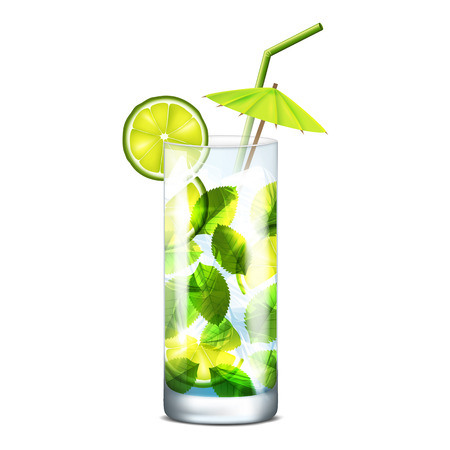 gaseosas: Ilustración del vector del cóctel con limón y menta