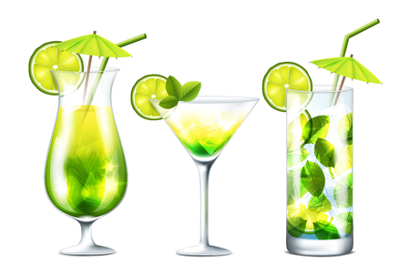 mojito: Vector collection of fresh cocktails isolated on white background Illustration