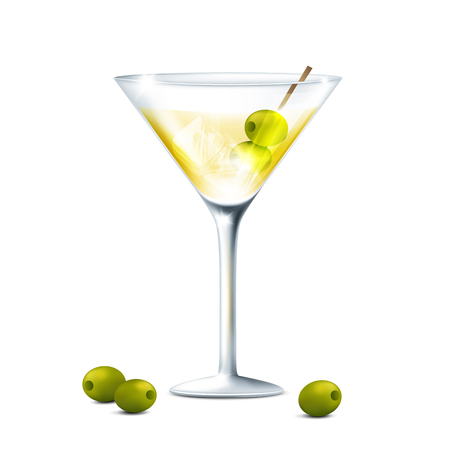 Vector illustration of a Martini glass with an olive