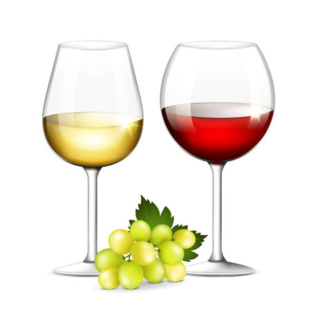 merlot: Glasses of white and red wine on a white background