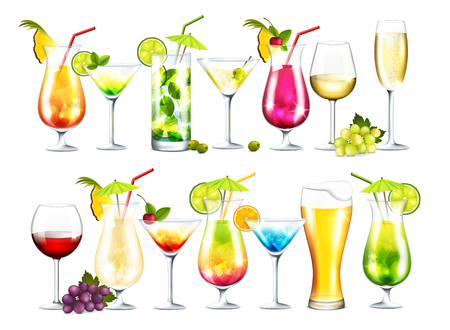 Vector collection of cocktails on white background Çizim