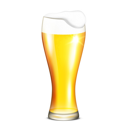 glassful: Vector illustration of a glass of beer on white background