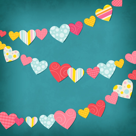 affectionate: Garland of colored hearts for Valentines day