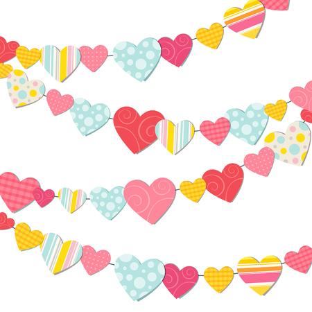 siluetas de enamorados: Guirnalda de corazones de colores sobre un fondo blanco Vectores