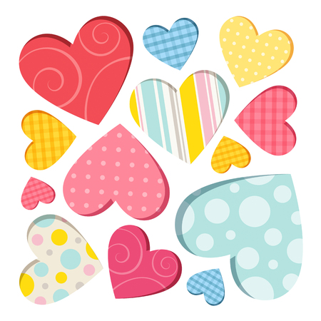 coloured: Collection of colored hearts on a white background Illustration