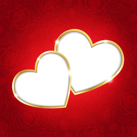 wedding love: Two hearts on a red background for Valentines day