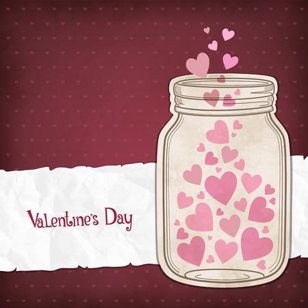 Harten in een glazen pot voor Valentijnsdag