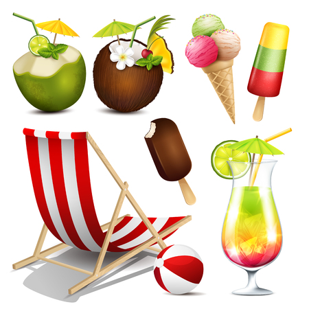 coconuts: collection of summer elements isolated on white background Illustration