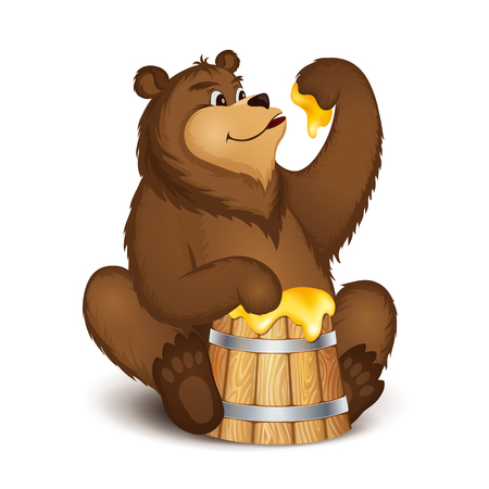 Brown bear eating honey from a wooden barrel on isolated background Illustration