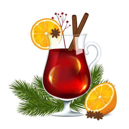 A glass of mulled wine on a white background