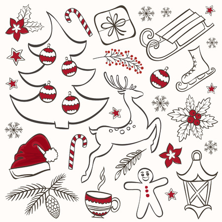 santa sleigh: Collection of winter elements for Christmas