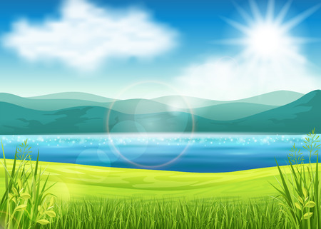 Vector illustration of a beautiful summer view