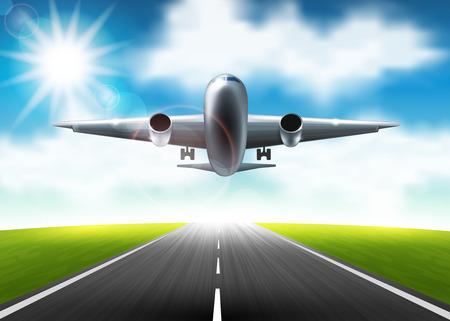 flight crew: Vector illustration of airplane flying over the runway Illustration