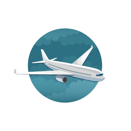 flight crew: Vector icon of airplane side view on white background