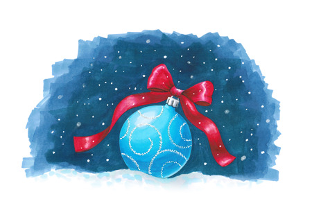 Sketch markers Christmas ball on blue background. Sketch done in alcohol markers. You can use for greeting cards, posters and design projects. Stock Photo