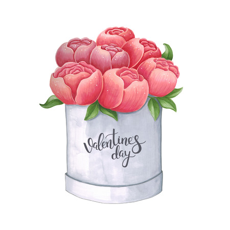 Sketch markers peony in a box for Valentines day. Sketch done in alcohol markers. You can use for greeting cards, posters and design projects.