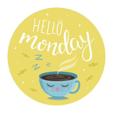 Vector illustration of Hello Monday with a cup of tea Ilustração