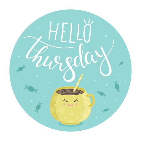 illustration vectorielle de bonjour jeudi avec une tasse de thé