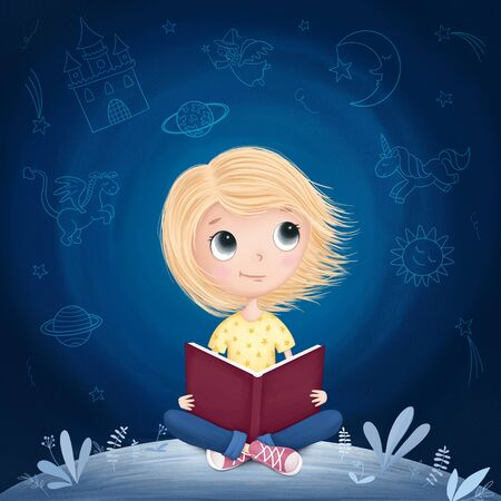 Little girl reading a book and dreaming. Raster illustration