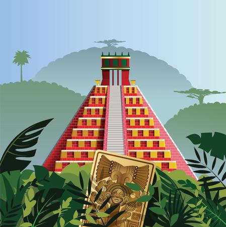 Acient Mayan pyramid Ilustrace