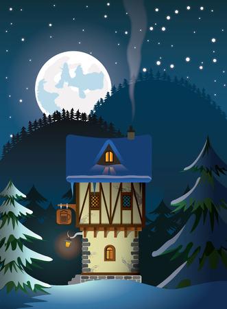 night landscape: medievel house Illustration