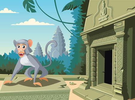 Monkey in Cambodian Angkor Wat tempe