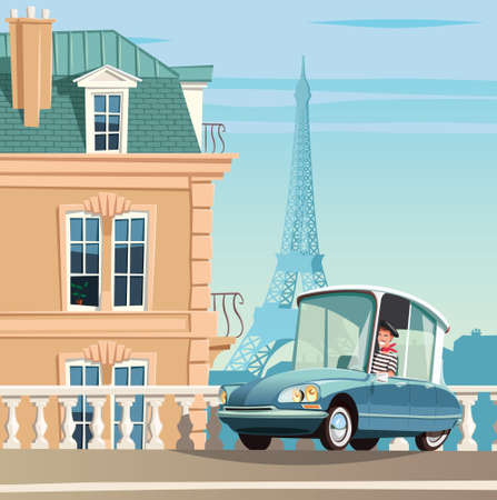 Old French car on Paris streets and Eiffel tower in background